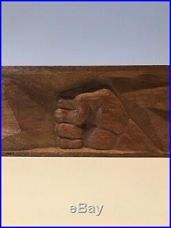 Frank Lloyd Wright Student Gary K. Herberger 1957 Wood Carved Hand Sculpture