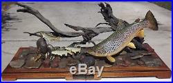 Franz Dutzler Wood Fish Sculpture Deschutes River Scene Brown Trout Carving