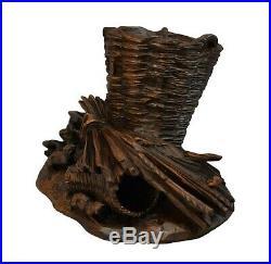 French Antique Black Forest Hand Carved Wood Sculpture Cigar Server with Basket