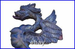 French Antique Pair Large Hand Carved Griffin Chimera Dragon Pediments Sculpture