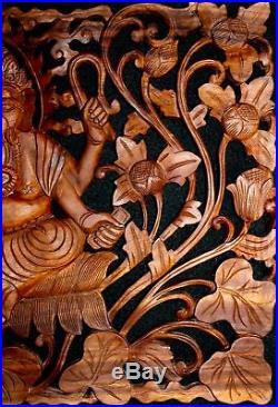 Ganapati Ganesha Panel Wall art Sculpture Elephant God hand carved wood Bali Art