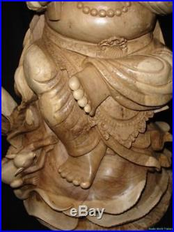 Ganesh Remover Obstacles Wise Elephant Sculpture Carved Wood Bali art statue 27