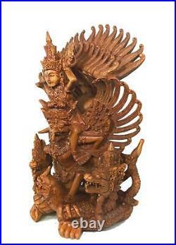 Garuda Vishnu Naga Statue Balinese Hand carved wood sculpture Indonesian Art