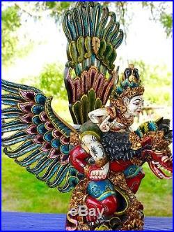 Garuda Vishnu Statue Balinese carved wood sculpture Polychrome Indonesian Art