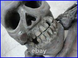 Georgian Antique Hand Wood Carving Memento Mori Life size Skull Snake Signed