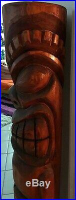 Giant hand carved wood Tiki statue sculpture figure tiki bar Ku Warrior Bosko