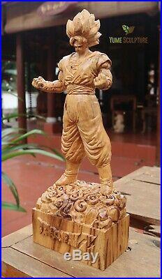 Goku Anime Dragon Ball Z Akira Toriyama Saiyan Statue Sculpture Wooden Carving