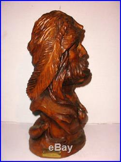 Great John Burke 15 Western Art Grizz Hunter Wood Carving Sculpture