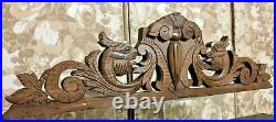 Griffin scroll leaf wood carving pediment Antique french architectural salvage