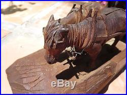 H. S. Andy Anderson (1893-1963) COVERED WESTERN WAGON Woodcarving Sculpture