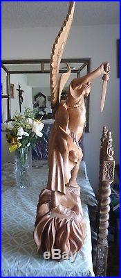 HAND CARVED WOOD SAINT ARCHANGEL MICHAEL SCULPTURE angel statue RELIGIOUS 31.5'