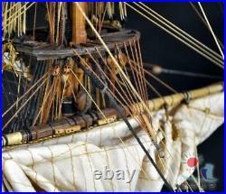 HMY Royal Caroline Model 130 Scale Solid Wood Carving Full Sail System Kit Set