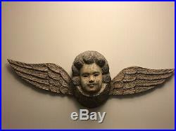 HUGE ANGEL Solid CARVED WOOD CHERUB 37 PUTTI Antique Wall Sculpture
