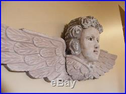 HUGE WALL ANGEL Solid CARVED WOOD CHERUB 37 PUTTI Antique Sculpture GLASS EYES