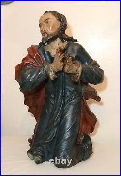 HUGE antique 1600's hand carved polychromed wood religious Jesus saint sculpture