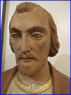 HUGE vintage hand carved solid wood life size saint Joseph Jesus icon sculpture