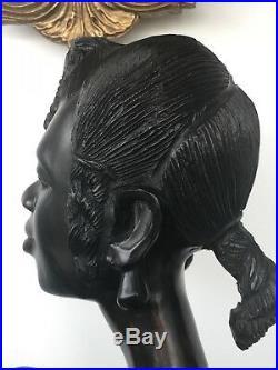 Hand Carved Antique African Women Wood Bust Sculpture Figures Tribal Art Queen