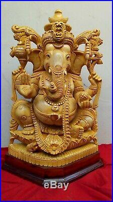 Hand Carved Ganesha Cedar Wood Sculpture Statue Hindu Temple Murti Figurine Rare