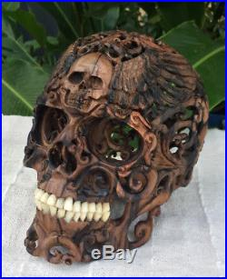 Hand Carved Sculpture Black Wood Human Size Skull Realistic flexible Jaws Unique