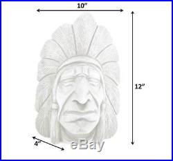 Hand Carved Wood Indian Head Chief Bust Tobacco Store Cigar Shop Sculpture 12