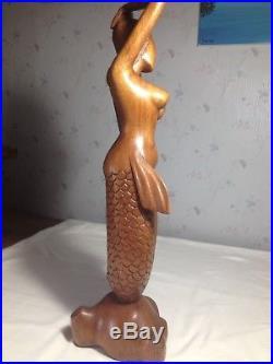 Hand Carved Wood Mermaid Goddess Sculpture Statue Bali Art 19