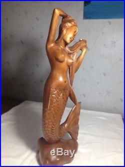 Hand Carved Wood Mermaid Goddess Sculpture Statue Bali Art 19 tall
