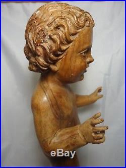 Hand Carved Wood Sculpture Divine Child Baby Jesus Religious Santos