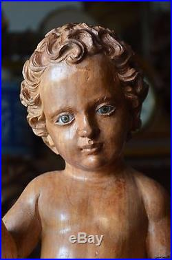 Hand Carved Wood Sculpture Divine Child Baby Jesus Religious Santos 17.5'
