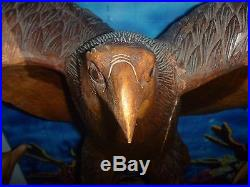 Hand Carved Wood Sculpture Life Sized Eagle 1980's Two Tones 36.2 Pounds