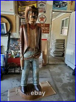 Hand-Carved Wood/Wooden Cigar/Drug Store Cowboy Statue Life Size 6ft tall