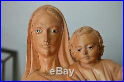 Hand Carved Wood madonna Virgin mary and child jesus sculpture statue Religious