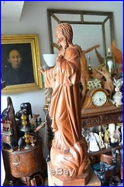 Hand Carved Wood sculpture of The Sacred Heart of Jesus''23.5 Religious corpus