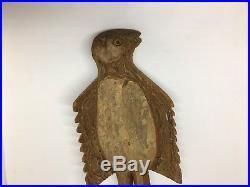 Hand Carved Wooden Bird Antique Primitive Eagle Sculpture Wood Figure Folk Art