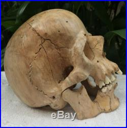 Hand Carved Wooden Sculpture Human Size Skull Realistic Wood Carving Unique