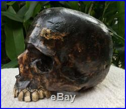 Hand Carved Wooden Sculpture Real Size Replica Human Wood Skull Decor Handmade