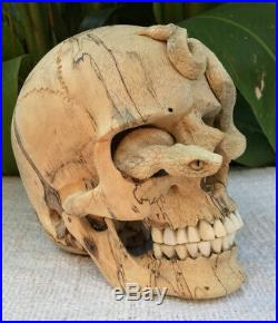 Hand Carved Wooden Skull With Snake Sculpture Wood Skull Flexible Jaw Sizewood Carving Sculpture