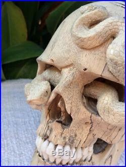 Hand Carved Wooden Skull with Snake Sculpture Wood Skull flexible Jaw Size