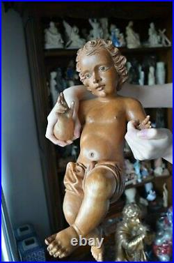 Hand Carved wood Christ Child, Baby JESUS sculpture statue Religious Christmas