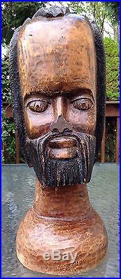 Hand Made Carved Wood Jamaican Art Sculpture Rastafarian African Bust Statue 18