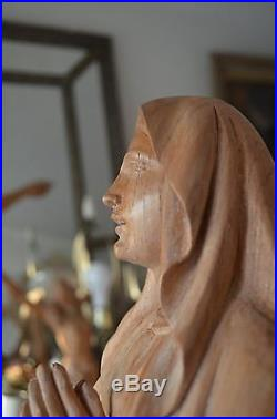Hand carved wood Our Lady of Lourdes Mary Madonna Religious statue Sculpture