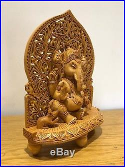 Handmade Carved Indian Hindu God Ganesha Wood Wooden Statue Sculpture