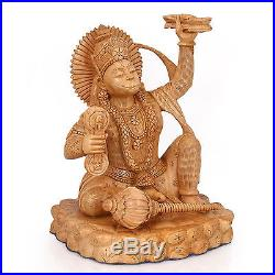 Hanuman Statue God Hindu Monkey Sculpture Wood Carved Figurine Lord Strength Art