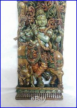 Hindu God Krishna Sculpture Temple 3 Ft Statue Hand Carved Figurine India Art