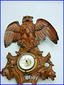 Holzschnitzerei Schwarzwald Eule Barometer Black Forest Wood Carving Owl 19th c