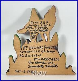 Howard Finster Folk Art Howling Wolf Early Enamel Wood Carving 1986 # 5000.263