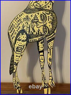Howard Finster Giraffe Signed & Dated May 21, 1990 14,679 Works Early Folk Art