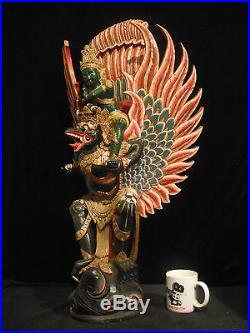 Huge 33 inch (84 cm) Rare Hardwood Carving Vishnu Being Carried by Garuda Bali