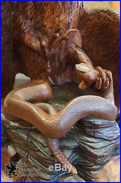Huge Michael Copas Life Sized Eagle Snake Hand Carved Wood Sculpture Statue 1983