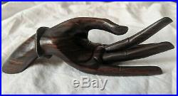 INCREDIBLE Vintage Mid Century Modern Carved Solid wood ROSEWOOD HAND SCULPTURE