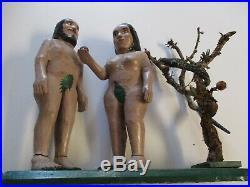 Ildefonso Quiroz Large Vintage Wood Carving Adam Eve Icon Nude Folk Naive Snake